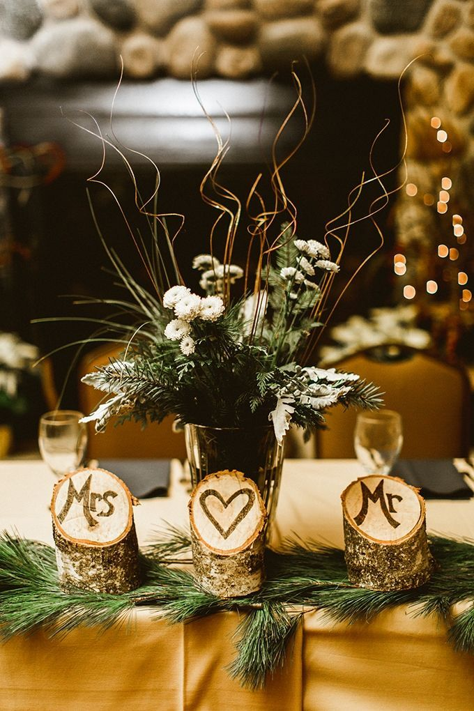 Best 25 lodge wedding ideas on pinterest rustic cake outdoor gorgeous centerpieces for winter wedding could also burn initials or the date in the wood junglespirit