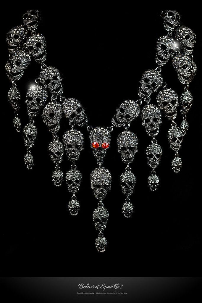 Skulls Cluster Black Diamond Goth Fashion Necklace | Crystal