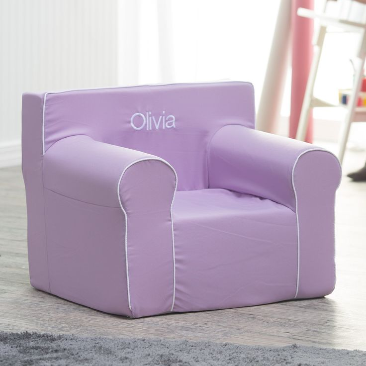 Here and There Personalized Kids Chair - Lavender Canvas with White Piping - Every child loves a big-kid accessory made just for them! The Here and There Kids Personalized Foam Chair- Lavender Canvas with White Piping gives the...