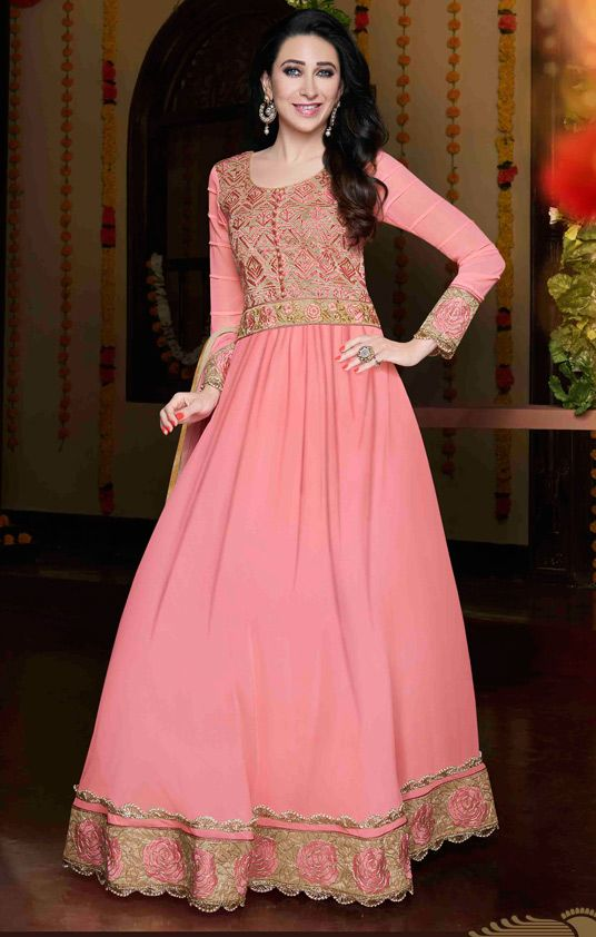 USD 43.52 Karisma Kapoor Pink Georgette Floor Length Anarkali Suit 56030