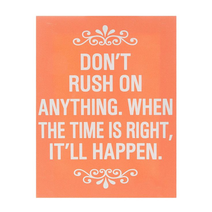 Bright orange dont rush anything wall canvas claires · toile muralemurs coraildécor