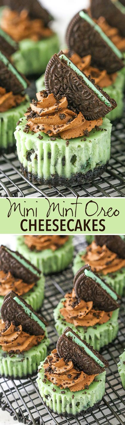 Mini Mint Chocolate Oreo Cheesecakes