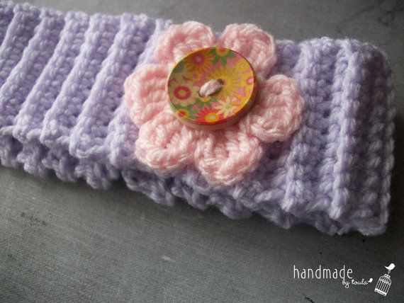 Crochet headband with decorative flower for little girls
