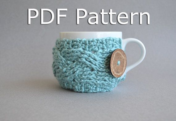 Crochet Cup Cozy Pattern  Crochet Cabled Cup Cozy by natalya1905, $5.00 @Sarah Fitzgerald and Nikki (it won't let me tag you)