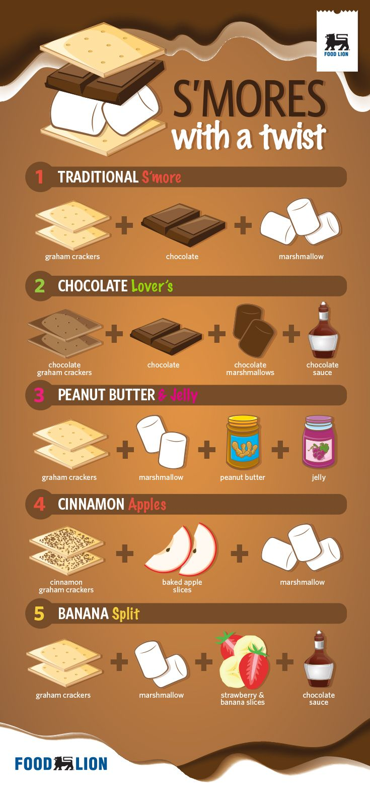 S'mores with a Twist: Put a unique twist on the classic S'more with the help of this infographic. Let your imagination run wild!! #FoodLion