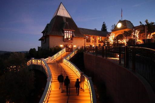 night falls at francis ford coppola winery, setting of the sonoma