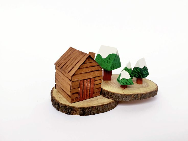 miniature wood house and snowy green forest / shelf decor by LoveMood on Etsy https://www.etsy.com/il-en/listing/521543117/miniature-wood-house-and-snowy-green