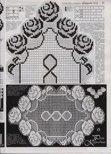 Häkeln Filethäkeln Tischläufer / crochet tablerunner doily