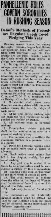 """Green and white (Athens, Ohio) September 24 1920. """"Panhellenic Rules Govern Sororities in Rushing Season.""""  :: Ohio University Archives"""