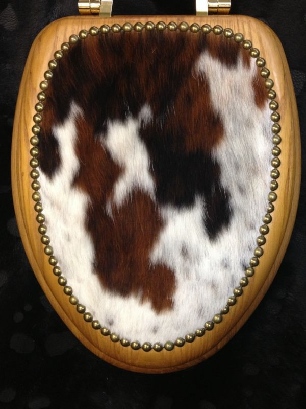 Toilet Seat Covers, Toilet Seats, Cowhide Decor, Western Decor, Upholstered  Furniture, Bathroom Inspiration, Bathtubs, Weird, Cabin
