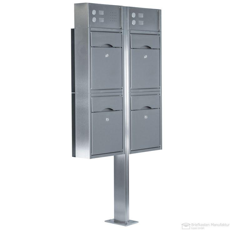 4-fach Standbriefkasten Edelstahl Albert PREMIUM mit Klingeln, Gegensprechstelle & Kamera - Edelstahl Säulen mittig