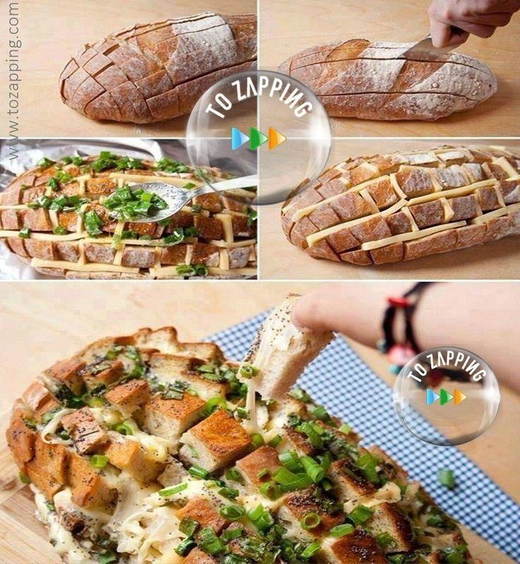 Pan relleno de queso. Delicioso pan relleno de queso, si sois de las personas que os encanta el pan, os ofrecemos una receta de pan diferente y relleno de