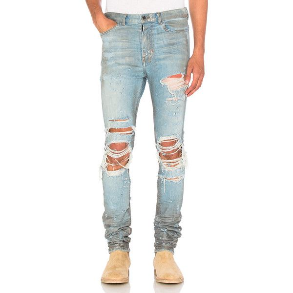 Amiri Shotgun Jean (£720) ❤ liked on Polyvore featuring men's fashion, men's clothing, men's jeans, jeans, mens ripped jeans, mens destroyed jeans, mens flap pocket jeans and mens distressed jeans