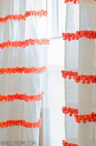 Do It Yourself Pom Pom Embellished Curtains