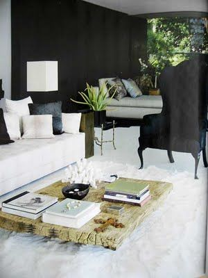 Contemporary interior design & decor in neutral white and black. Randolph Duke's Home Elle Decor