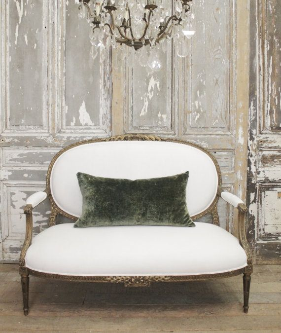 SKU Number: 34503-3 Description: Gorgeous Antique Bronze Louis XV settee in white Belgian Linen. Very solid and sturdy, ready for everyday use.