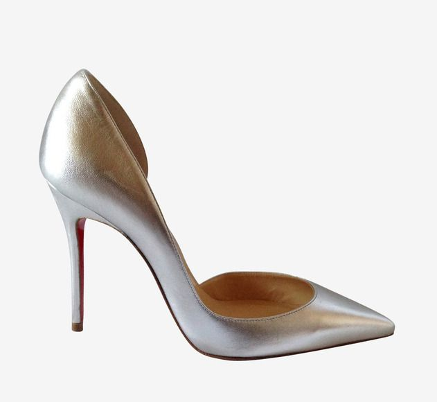louis vuitton replica shoes for men - Christian Louboutin Iriza Silver Metallic Leather D\u0026#39;orsay Pumps ...
