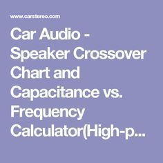 Car Audio - Speaker Crossover Chart and Capacitance vs. Frequency Calculator(High-pass)