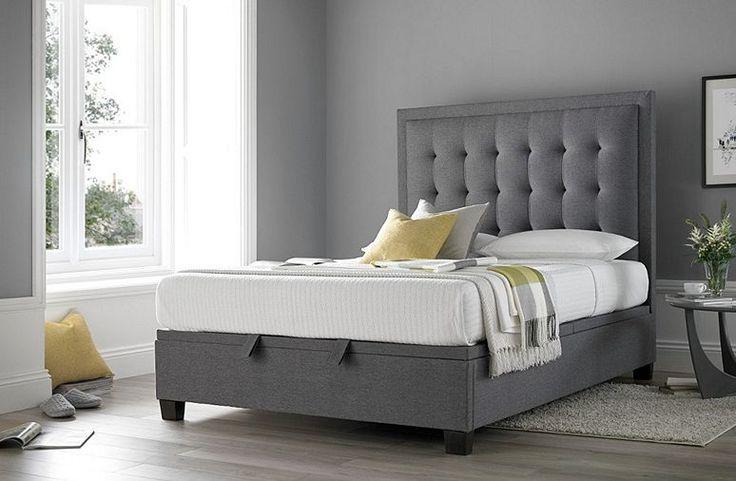 Tesco direct: Happy Beds Metro Fabric Ottoman Storage Bed - Grey