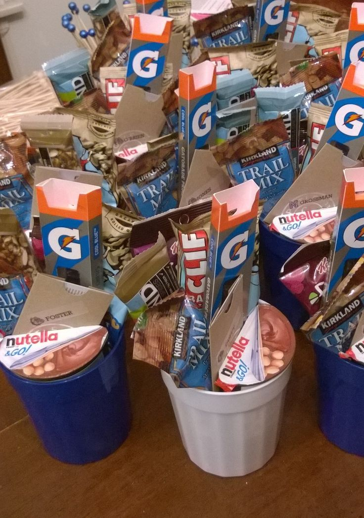 """Goodies"" for Boys' Soccer Senior Night...    Protein bars, Gatorade chews, Nutella & Go Snacks and Chipotle Gift Cards"