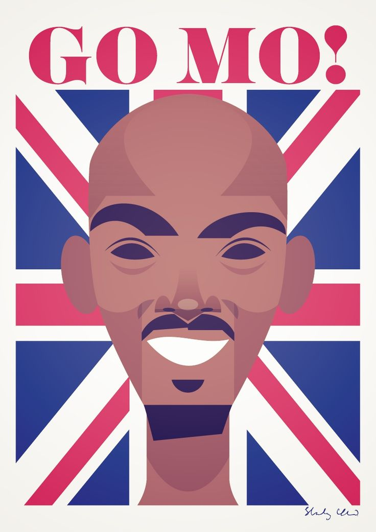 Gold medalist Mo Farah by Stanley Chow Illustration