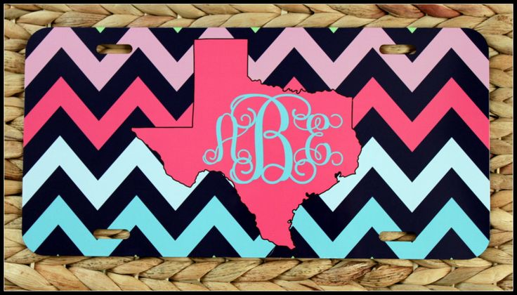 License Plate Monogrammed Gifts Monogram Car Accessories Personalized Car Tag Car Tags License Plates Chevron by ChicMonogram on Etsy
