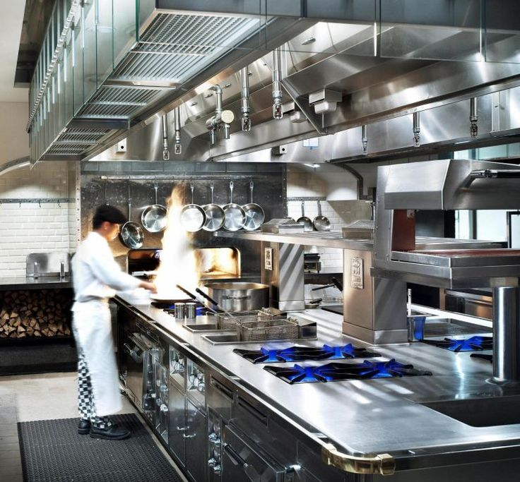 Professional Commercial Kitchen Look With Steel Counters Cupboards And Refrigerators