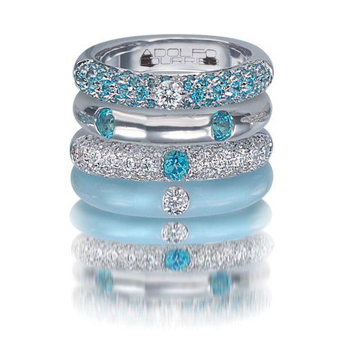 Adolfo Courrier Classic Turquoise 18 Karat White Gold, Enamel, Blue Topaz, & Diamond Stack Ring Set