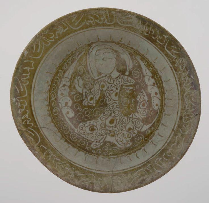 Coupe au personnage  fin du 12e - début du 13e siècle  Iran Céramique, décor de lustre métallique