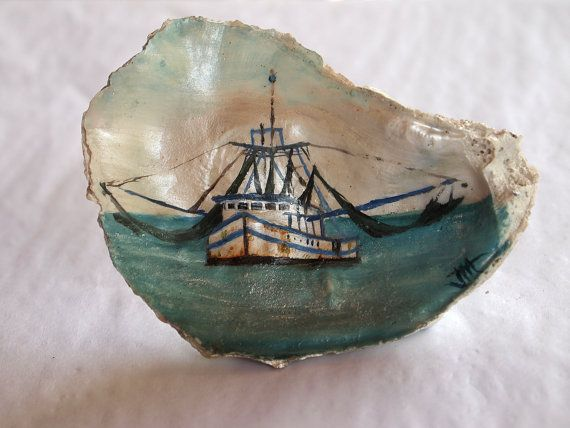 Hand Painted Shrimp Boat Oyster Shell by CottageNaturals on Etsy, $65.00