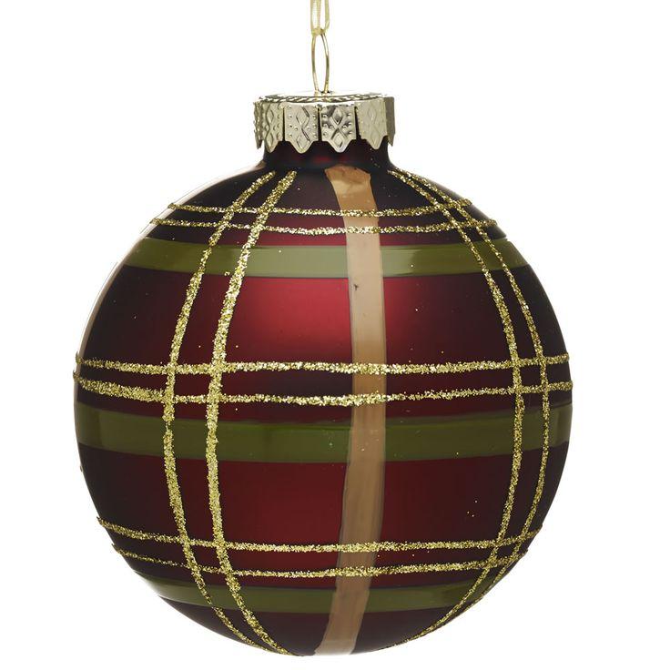 Wilko Forest Friends Tartan Bauble Christmas Tree Decoration