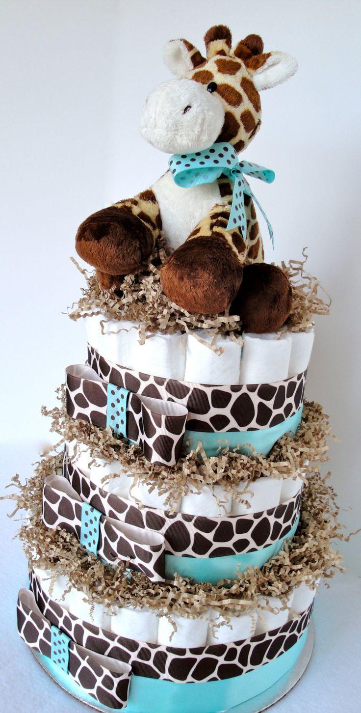 Giraffe Diaper Cake Giraffe Theme Tiffany by DomesticDivaDesignz, $75.00