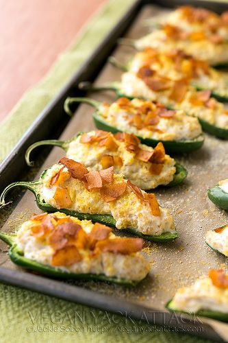 Vegan jalapeno poppers with coconut bacon