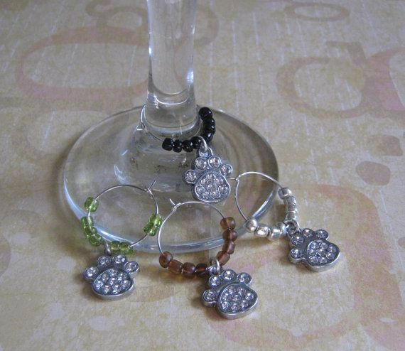 Dog Paw Wine Glass Charms by HobbyTimeDesign on Etsy, $12.99