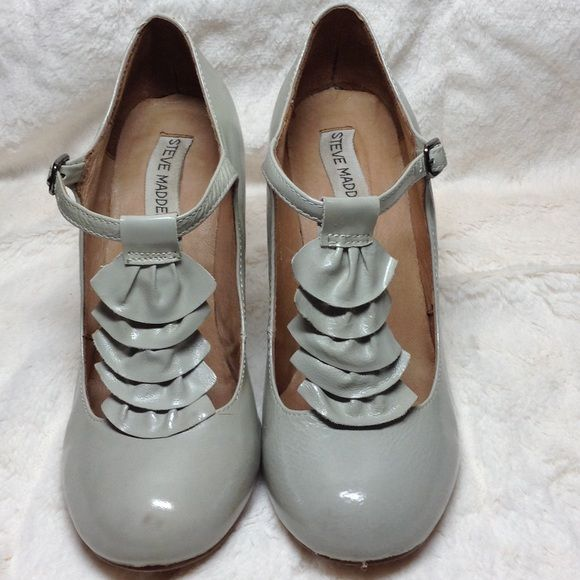Steve Madden Grey Patent Leather Mary Jane Pumps