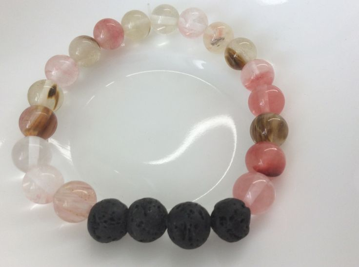 Christmas gift idea! Aromatherapy lava bead diffuser bracelet for essential oils-8mm Watermelon Quartz  beads by MickandNick on Etsy