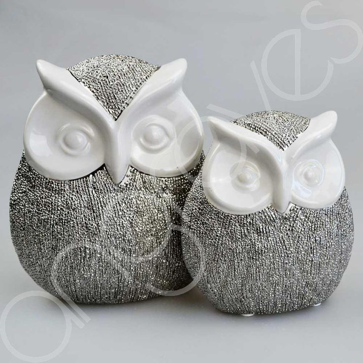 Set of 2 Large & Small Scratched Silver & White Owl Ornaments Cute Bird Gift Hom | eBay