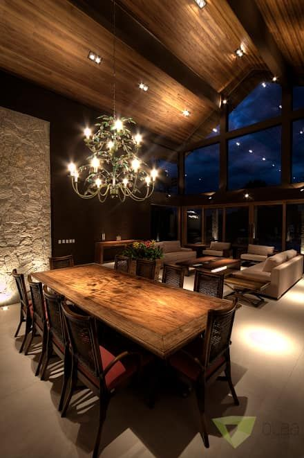 Casa de Campo Quinta do Lago - Tarauata: Salas de jantar campestres por Olaa Arquitetos