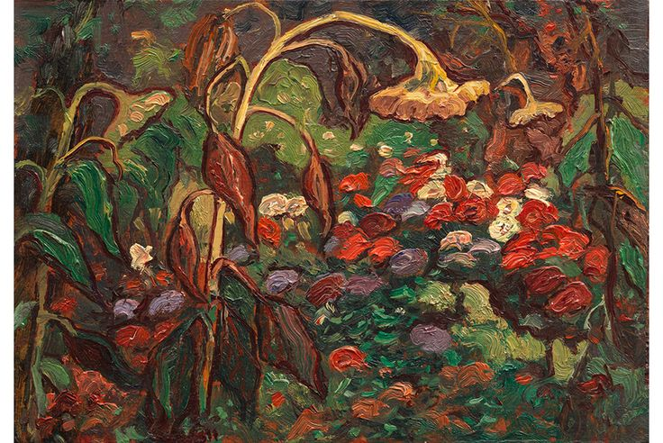 """Newly discovered oil paintings by J.E.H. MacDonald donated to the Vancouver Art Gallery.  """"Sketch for Tangled Garden"""", c. 1916."""
