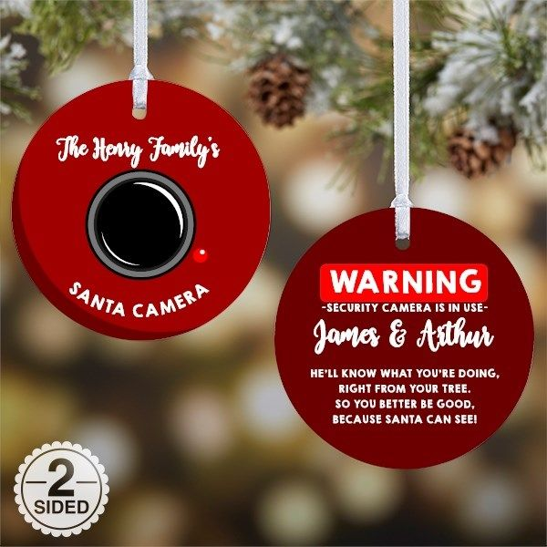 Custom Santa Spy Cam Ornament - Christmas Gifts