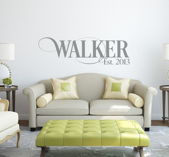 Like this font  Personalized Family Name Signs - Monogram Wall Decal - Last Name Decal-  Family Name Decal