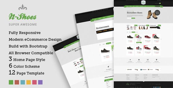 N-Shoes – Premium Responsive HTML5 Store Template #webdesign #website #design #responsive #besttemplates #template #SiteTemplates #Retail #Shopping