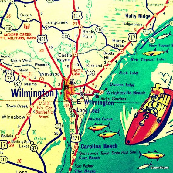 WILMINGTON Map Wilmington North Carolina Map Wall Art NC