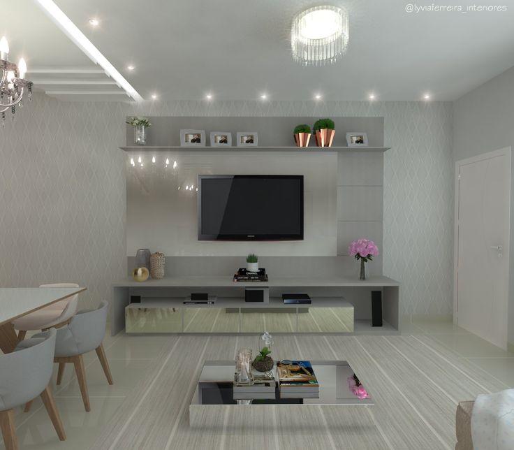 Home da sala- estar  Projeto: Lyvia Ferreira  Sala clean, móveis planejador para sala .