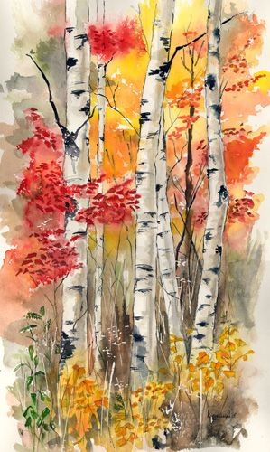 Kathleen Spellman WATERCOLOR... Reminds me of the birch tree we had in our front yard growing up