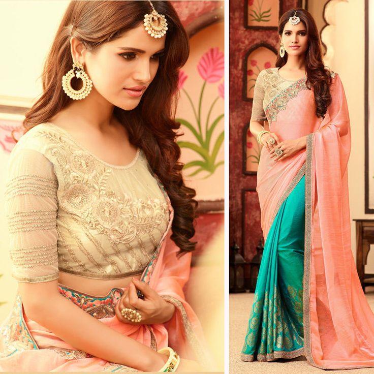 New Indian Designer Bollywood Pakistani Asian Wedding Party Green Peach Saree #Shoppingover #Saree