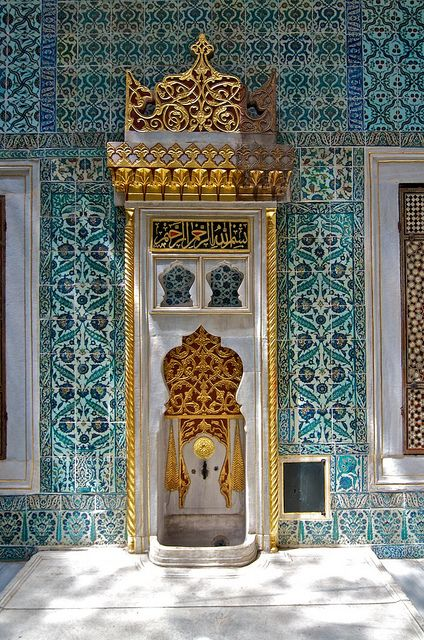 Topkapi Palace, Istanbul This is the exact color and pattern I want on my walls! http://magnificentturkey.com #Istanbul #Turkey #Türkiye