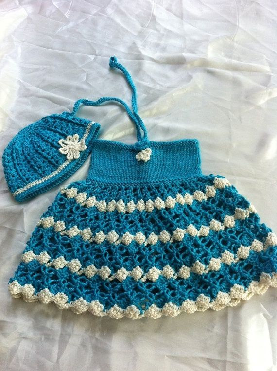 crochet baby dress and hat