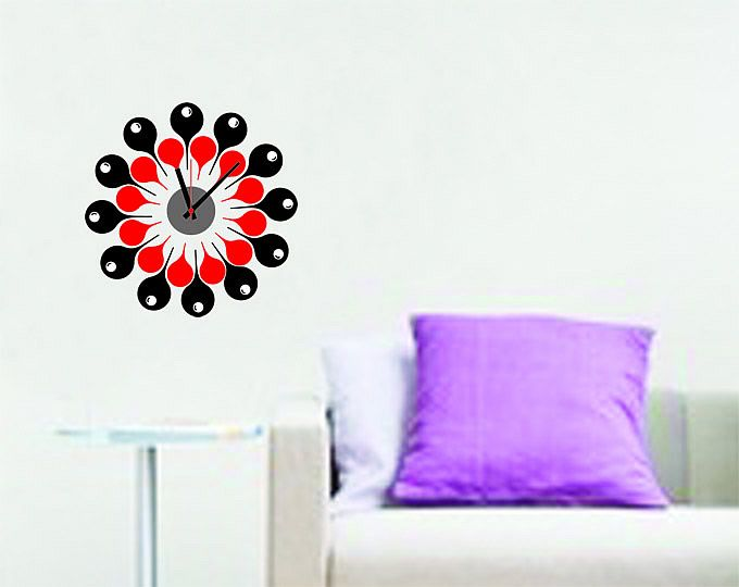 Stylish wall clock decal stickers | Clock Wall Decals | Pinterest