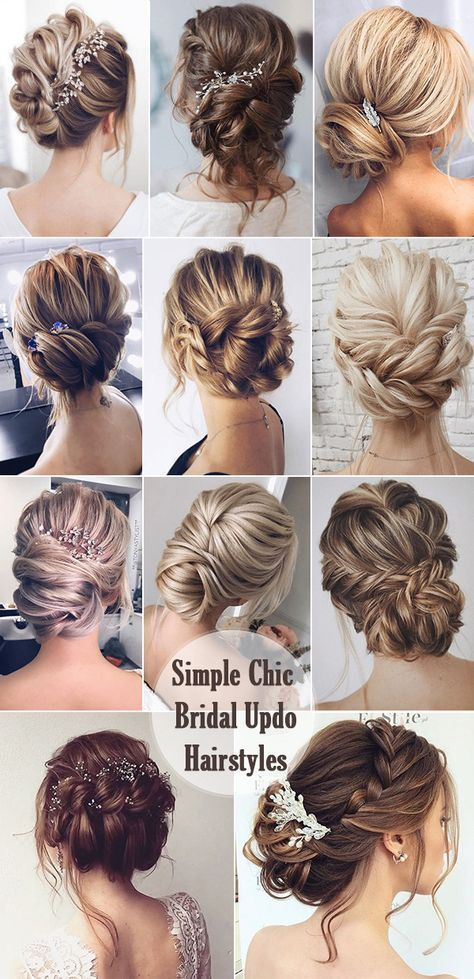 Simple and Chic Bride Updo Hairstyle Ideas #Wedding Hairstyles #Bride #Simple # Hairstyle #Upper